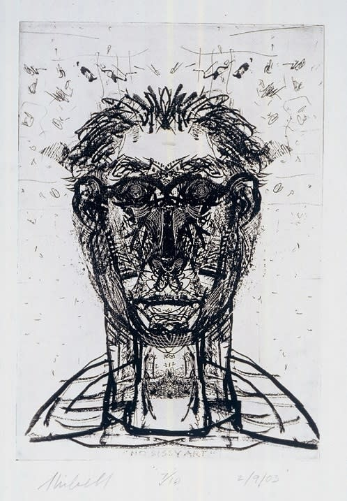 Jerry Skibell, No Sissy Art, solarplate etching, 11x8 inches, 2003