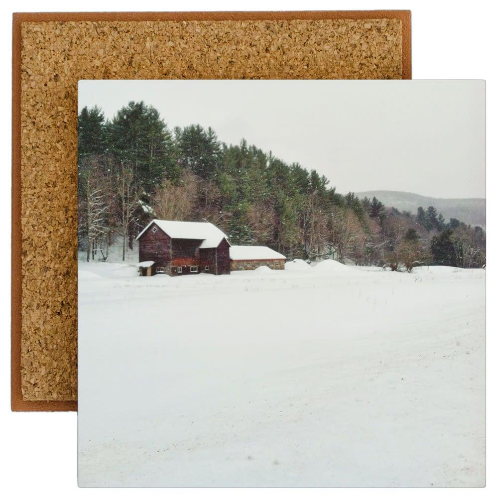 Claryville Winter Barn Fine Art Photograph imprinted on ceramic tile