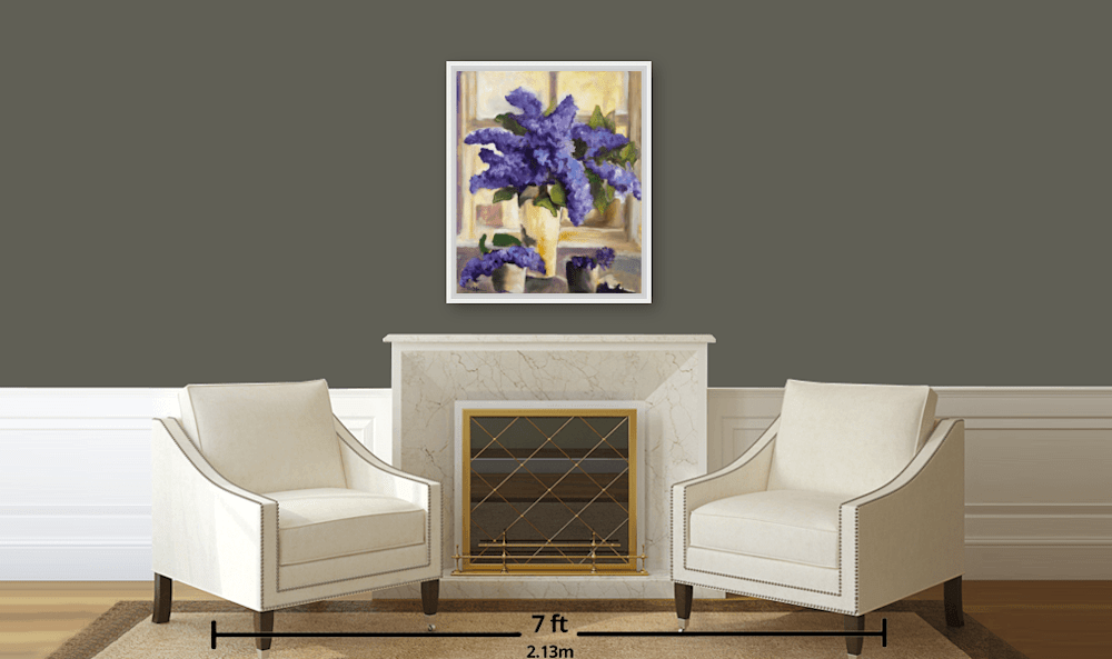Purple Lilacs in White Floater Frame