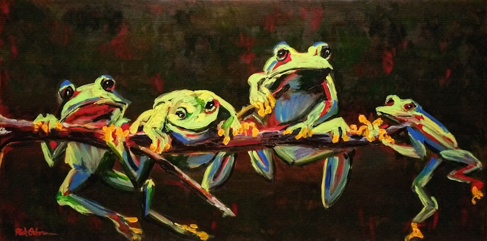 Four Green Tree Frogs Hanging on a Limb Art