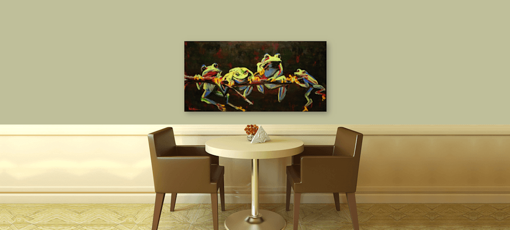 Tree Frogs Waiting Four a Kiss on Wall Painting
