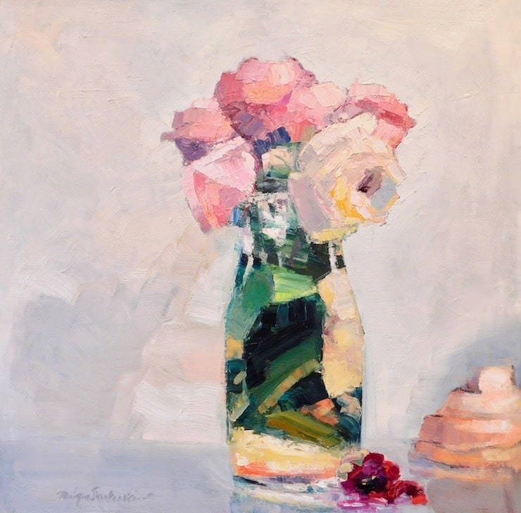Together Still Life With Pink Roses Red Camellia and Strawberry Meringue NK, Oil and Mixed Media on Panel, 24
