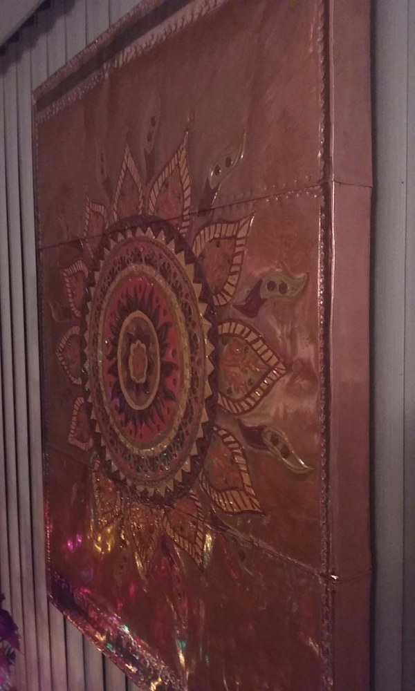 Copper Sun Mandala Display Piece