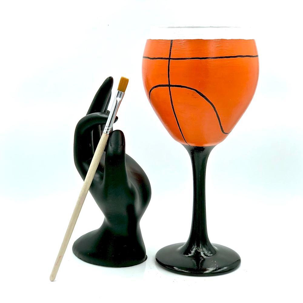 Hand painted basketball player glass