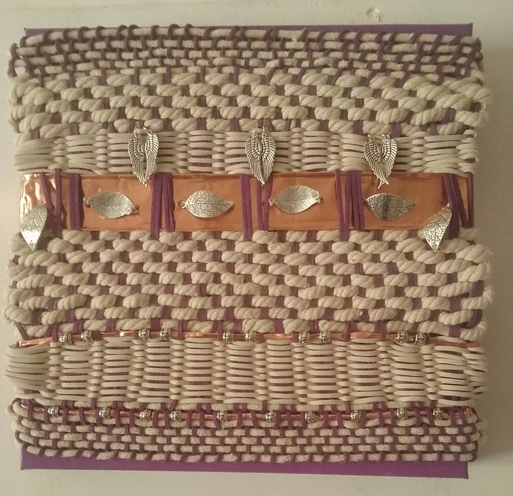 Artisan Weaving in Amethyst and Ivory 1