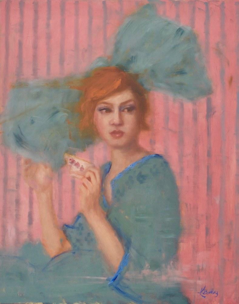 Tea Time Kelly Berkey 20x16 Oil on Board $1295