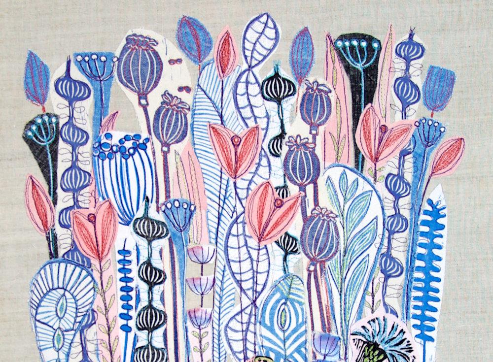 lino collage pink blackbird top