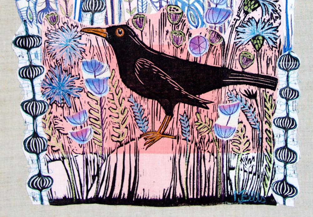 lino collage pink blackbird signature