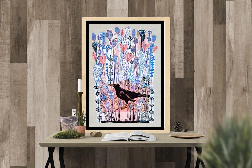 lino collage pink blackbird interior