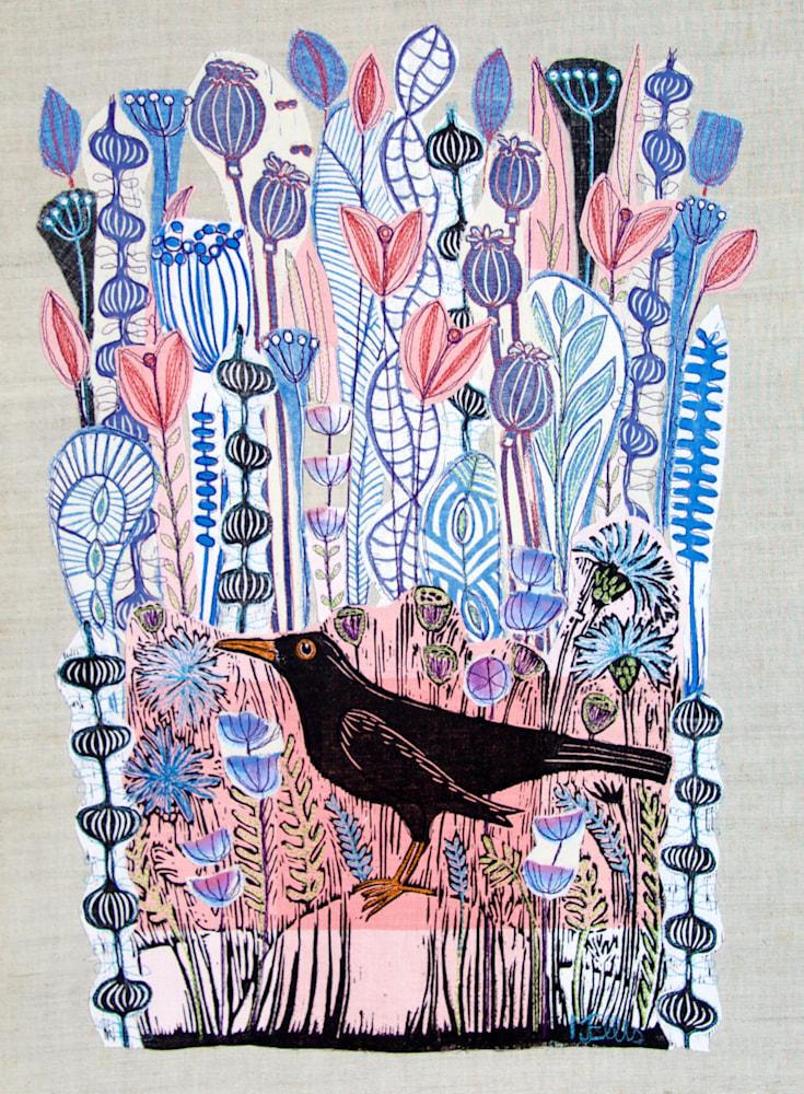 lino collage pink blackbird xl