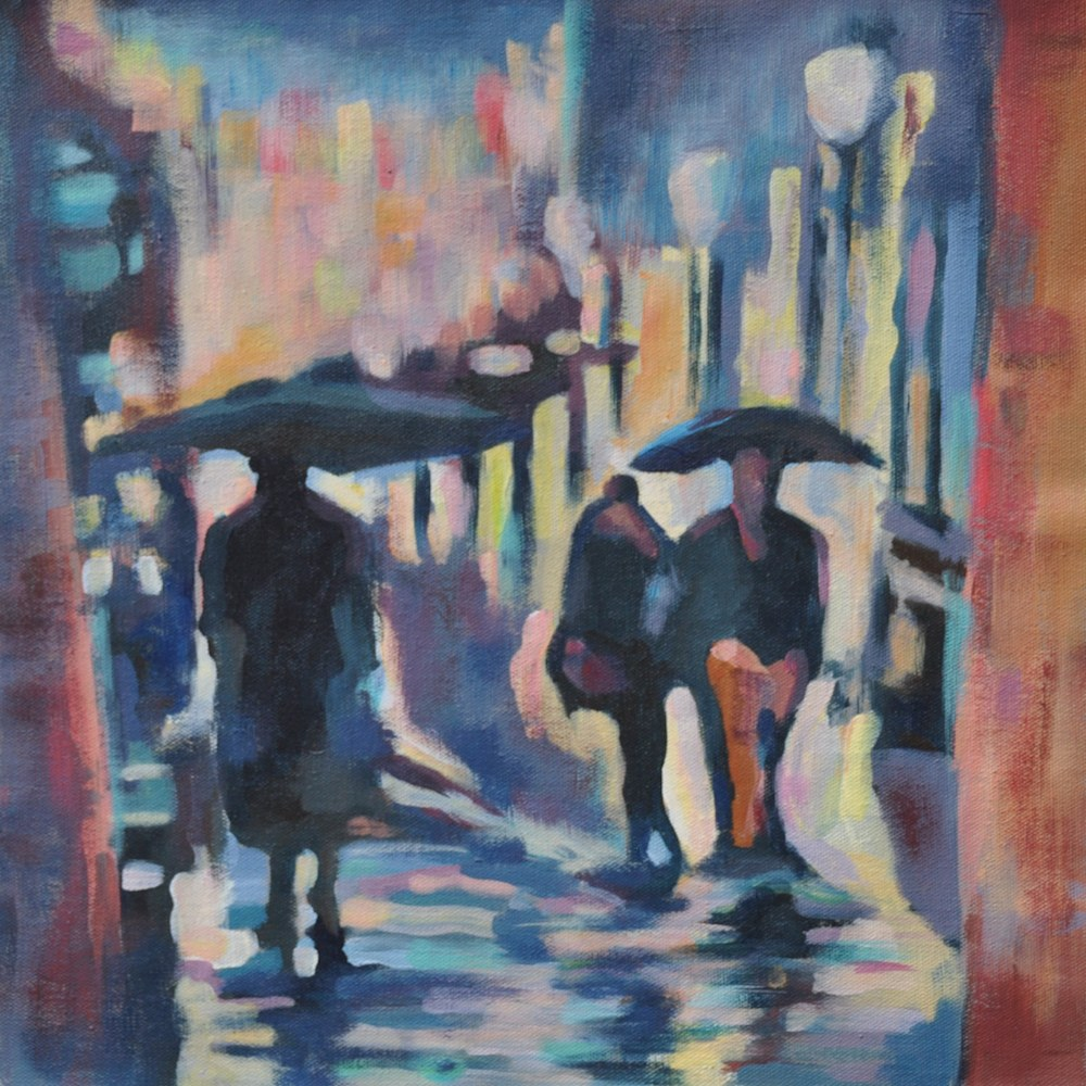 Rainy commute loose canvas 36x36cm