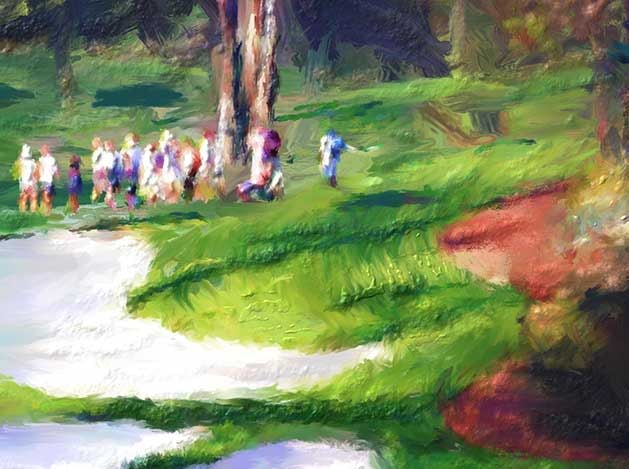 Painting of Master's Tournament play at Augusta National