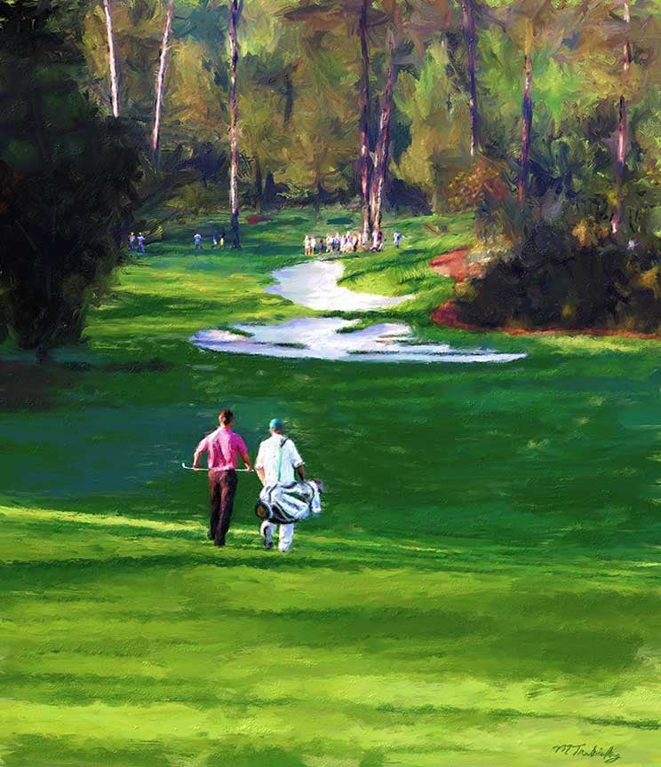 Painting of the Master's Play at Augusta National