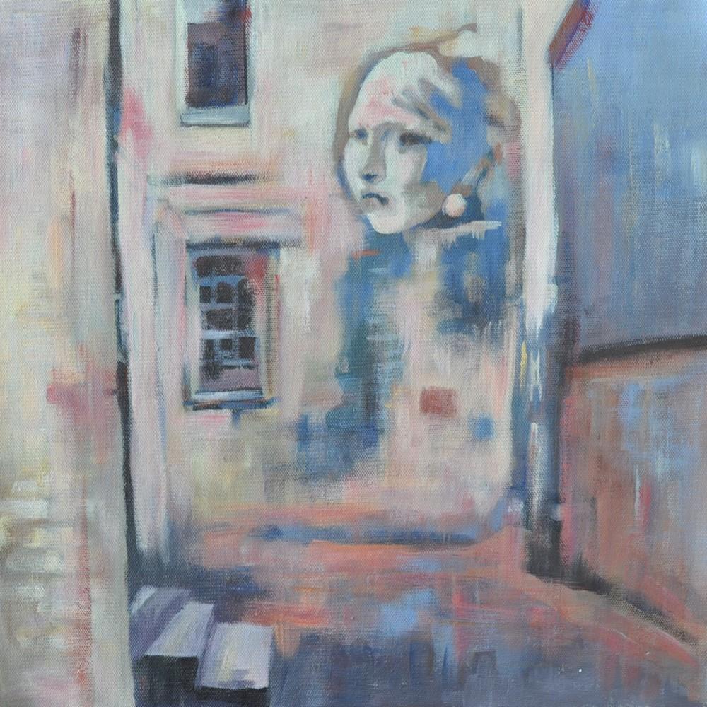 36x36 Chasing Banksy, Chasing Vermeer by Steph Fonteyn