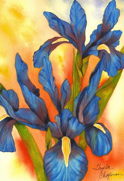 Bold & Beautiful Blue Iris, Blue Iris, Original watercolor, floral art, flower art