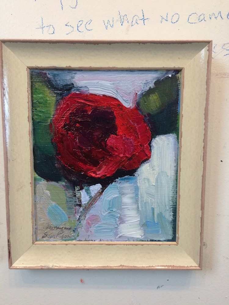 Together Still Life Red Camellia Framed, Oil and Mixed Media on wood, 10