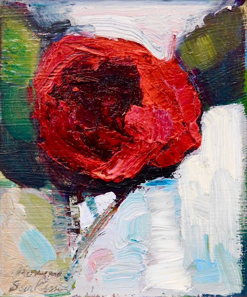 """Together Still Life With Dark Camellia, oil and mixed media on wood, 7""""x6"""""""