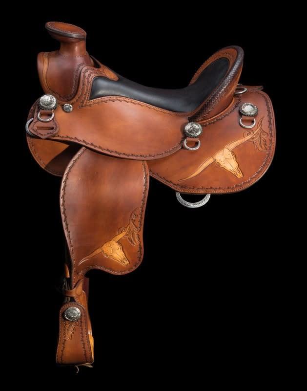 Custom, hand made Western Trail Saddle by Skyhorse Saddles
