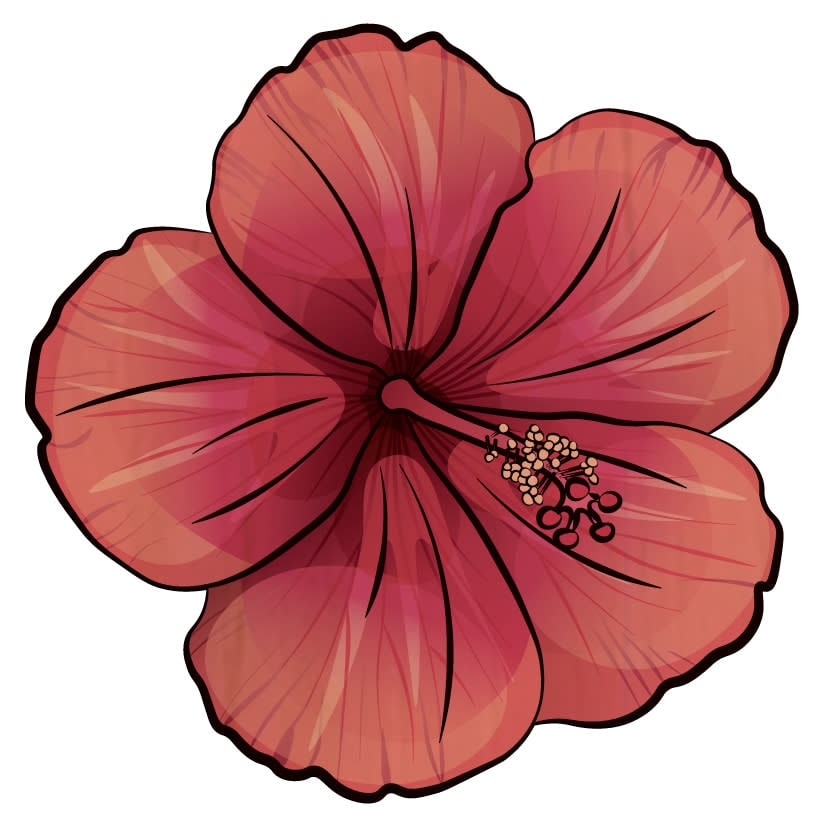 Wood Coasters Pink Hibiscus Cutout