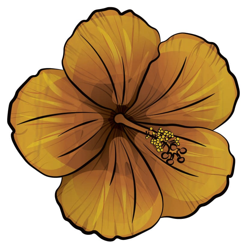 Wood Coasters Yellow Hibiscus Cutout