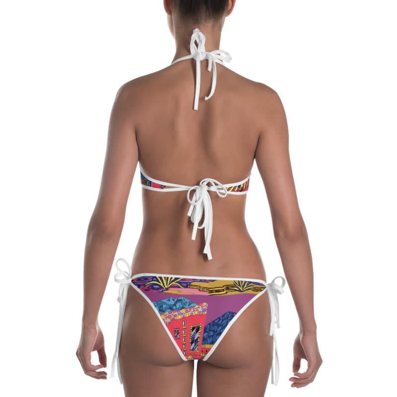 mockup Back view of Bikini Outside White