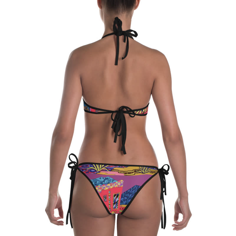 mockup Back view of Bikini Outside Black
