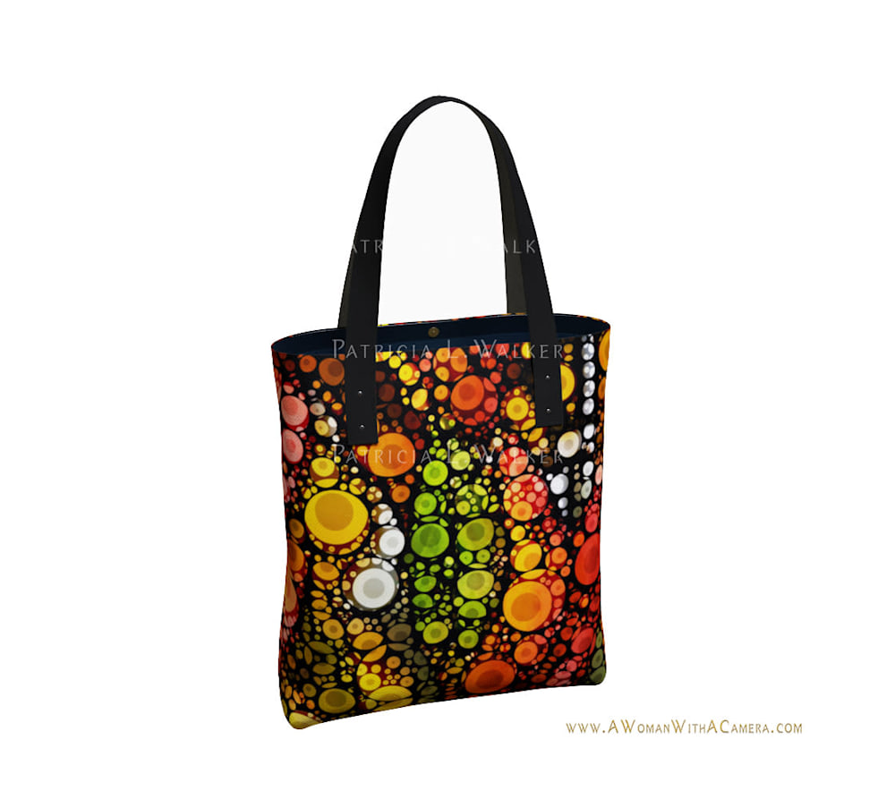 Fall Leaves and A White Moon Urban Tote Back watermark