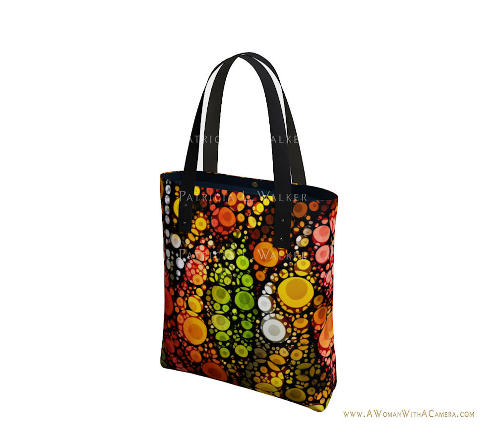 Fall Leaves and A White Moon Urban Tote Front watermark