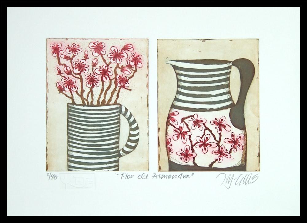 Flor de Almendar pair framed