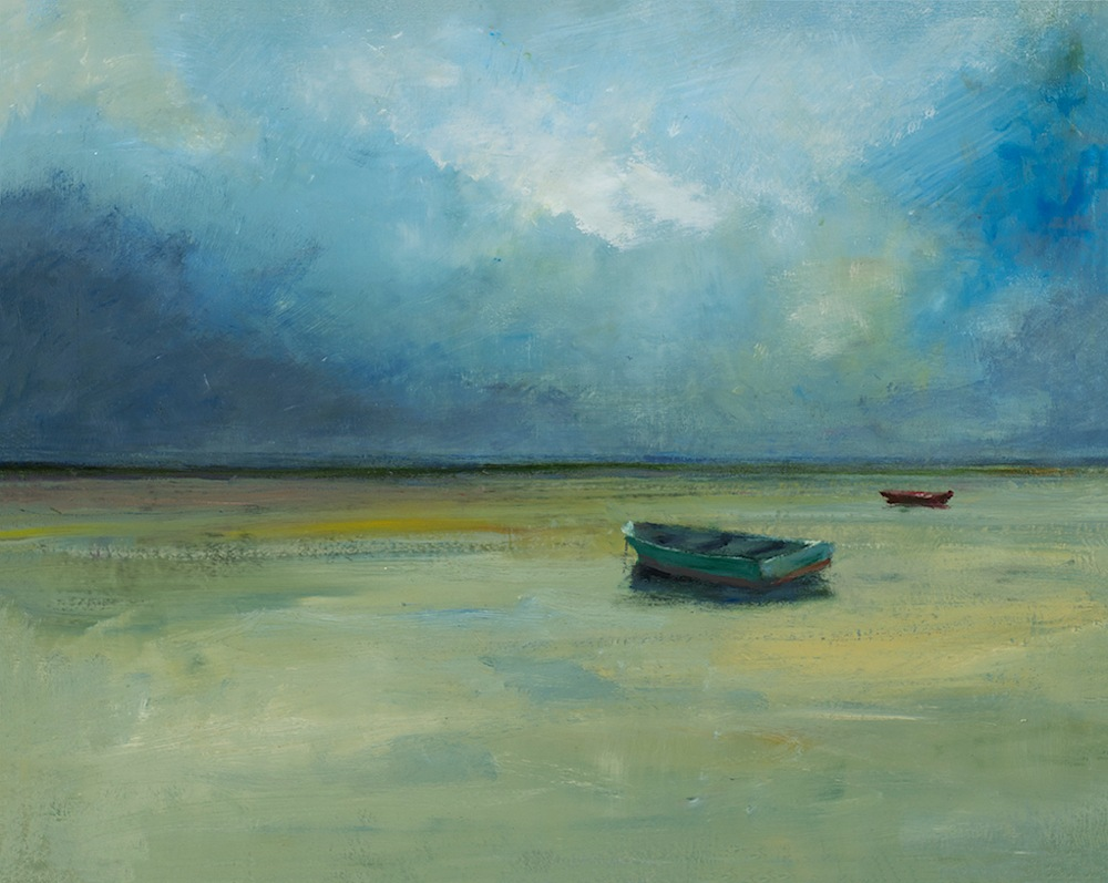 Turquoise Rowboat 24 x 30