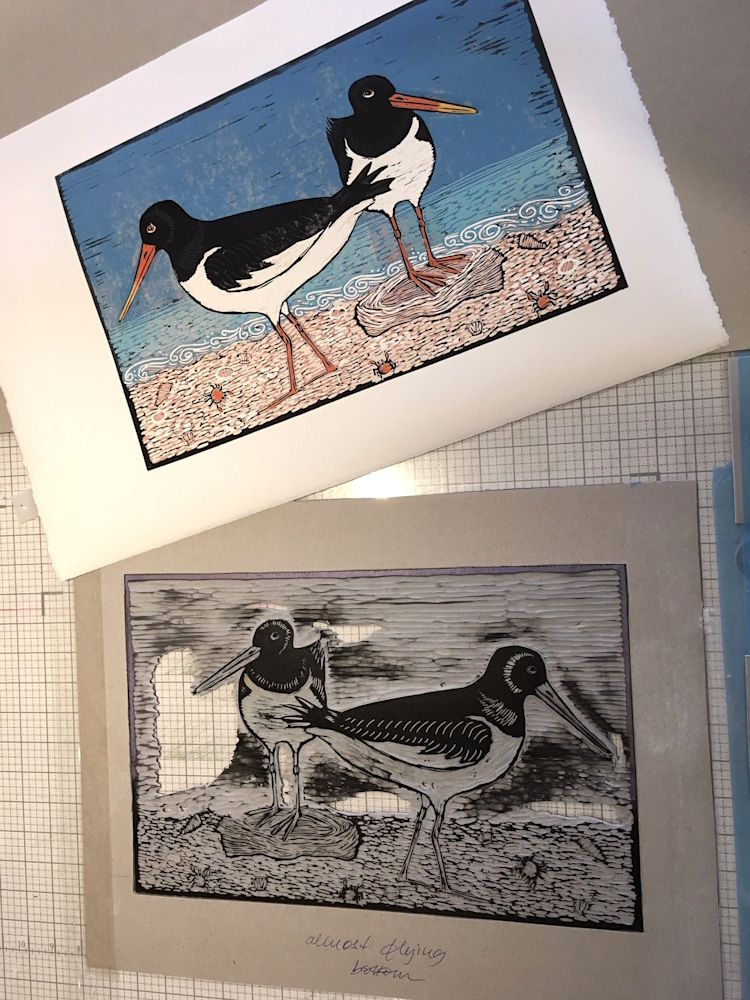 2 Oystercatchers in progress