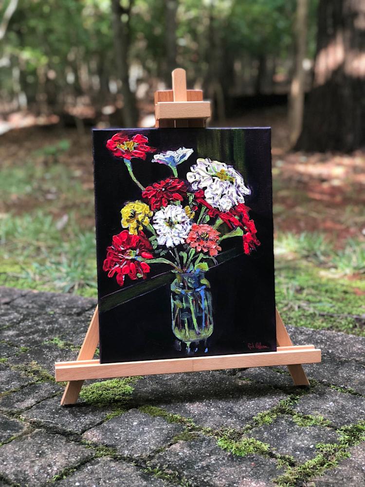 birthday zinnias easel