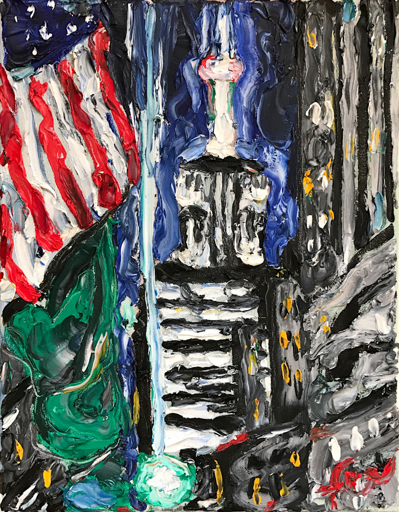 Empire State Building and American Flag Art