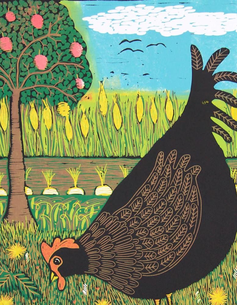 Black hen detail