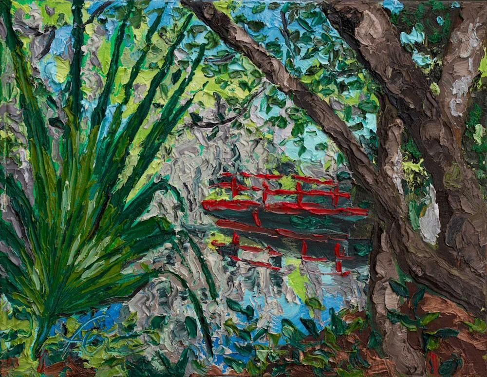 Magnolia Plantation Gardens with red bridge