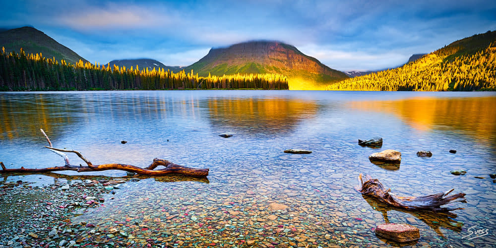 Sunlight Kiss at Two Medicine Lake 1000px