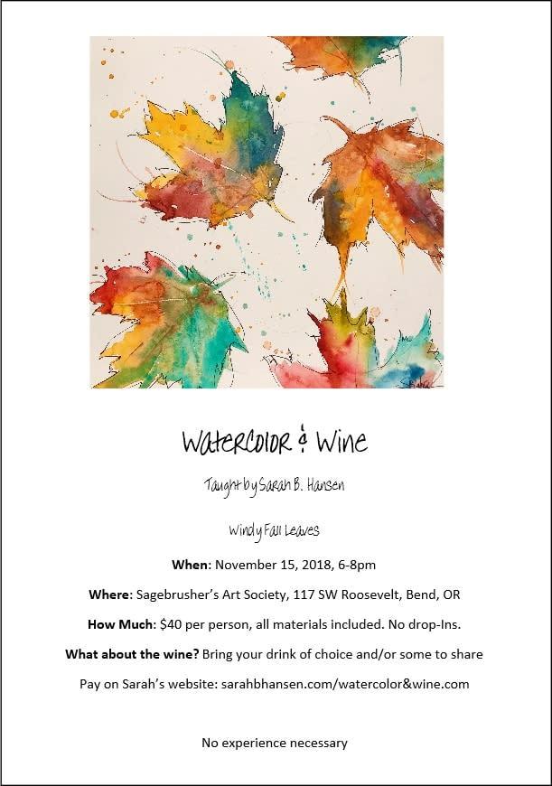 Watercolor & Wine Windy Leaves