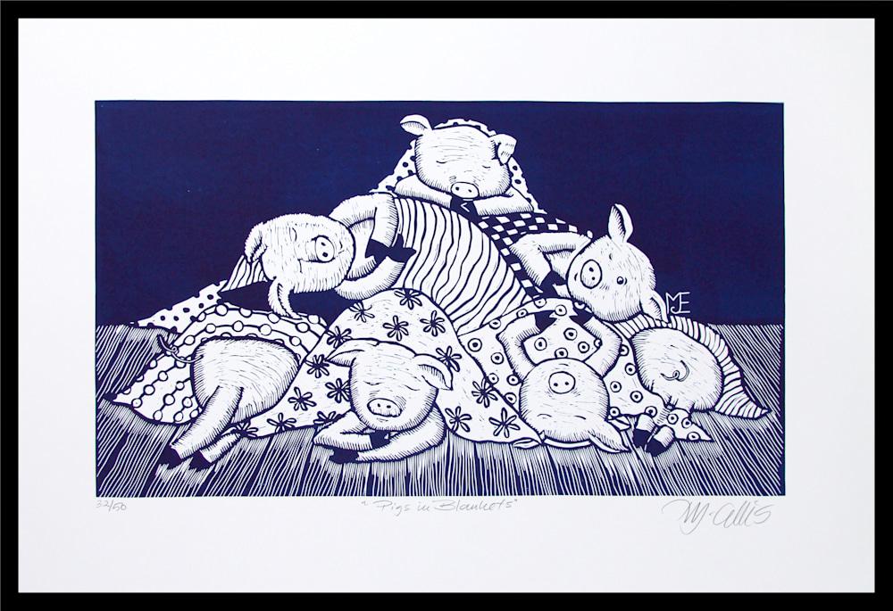 Pigs in blankets navy framed