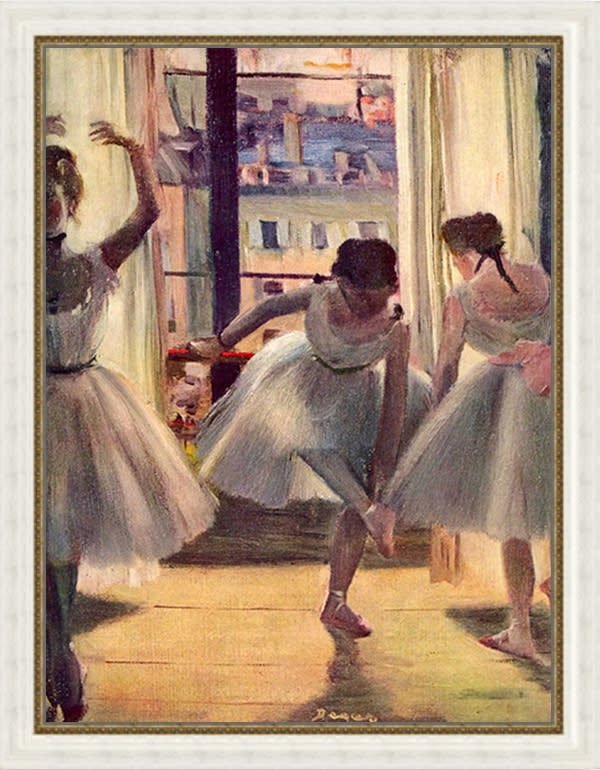 Three dancers in a practice room by Degas FRAME