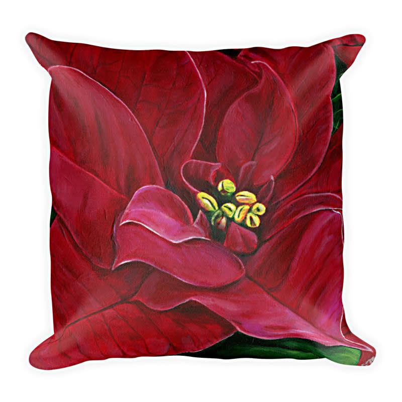 Poinsettia  pillow  alone18x18