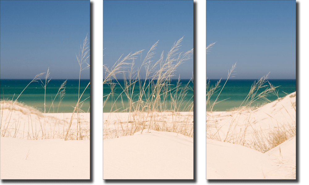 Dune Grass and Lake Michigan tryptich
