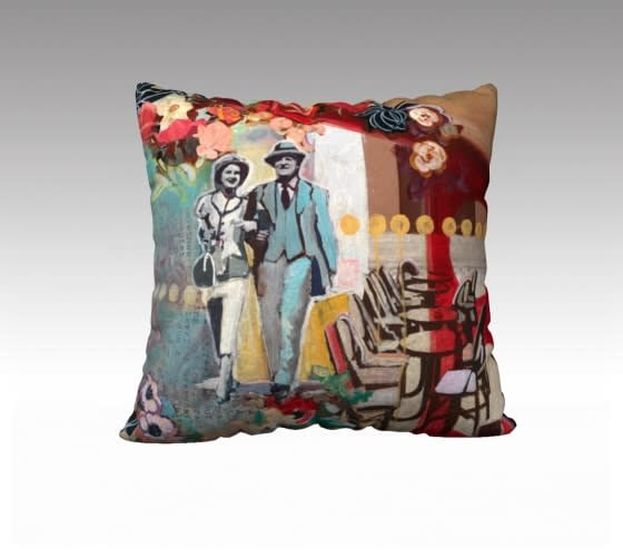 couple walking  pillow cover 22x22