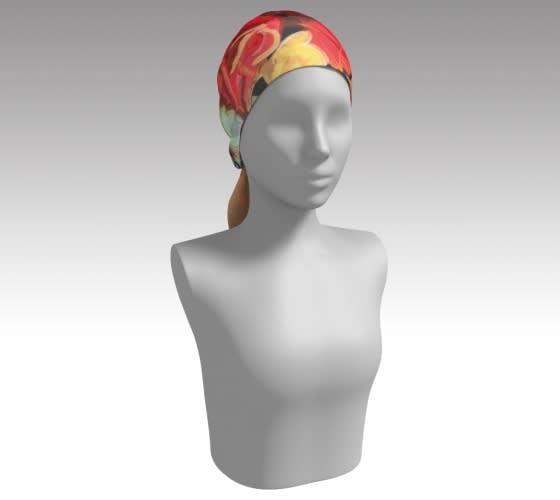 flowered scarf on head
