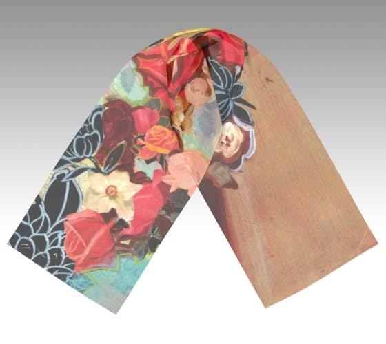 flowered scarf laid flat
