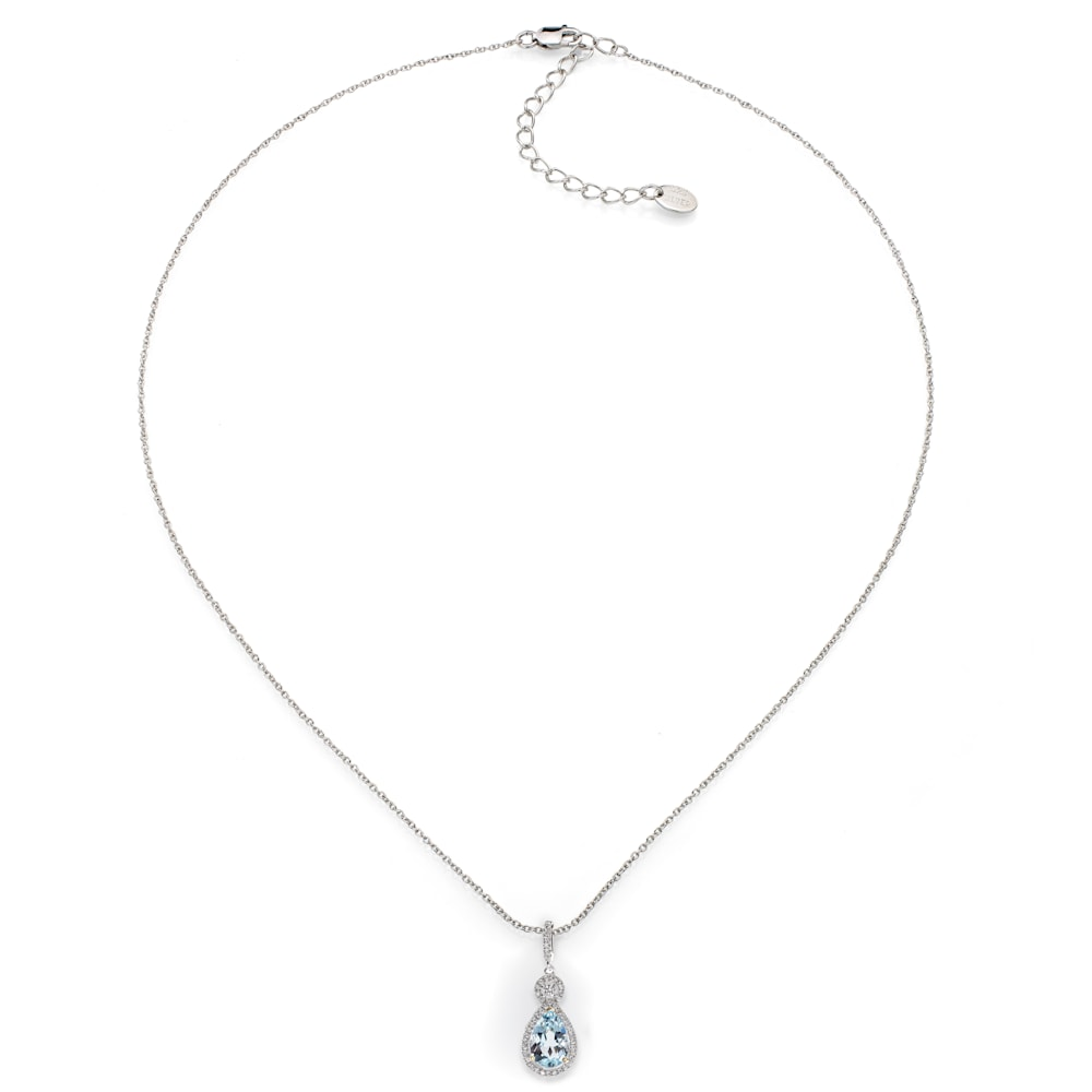 Silver Blue Topaz Necklace with 18 KGP Prongs Z30204 C 210000000430