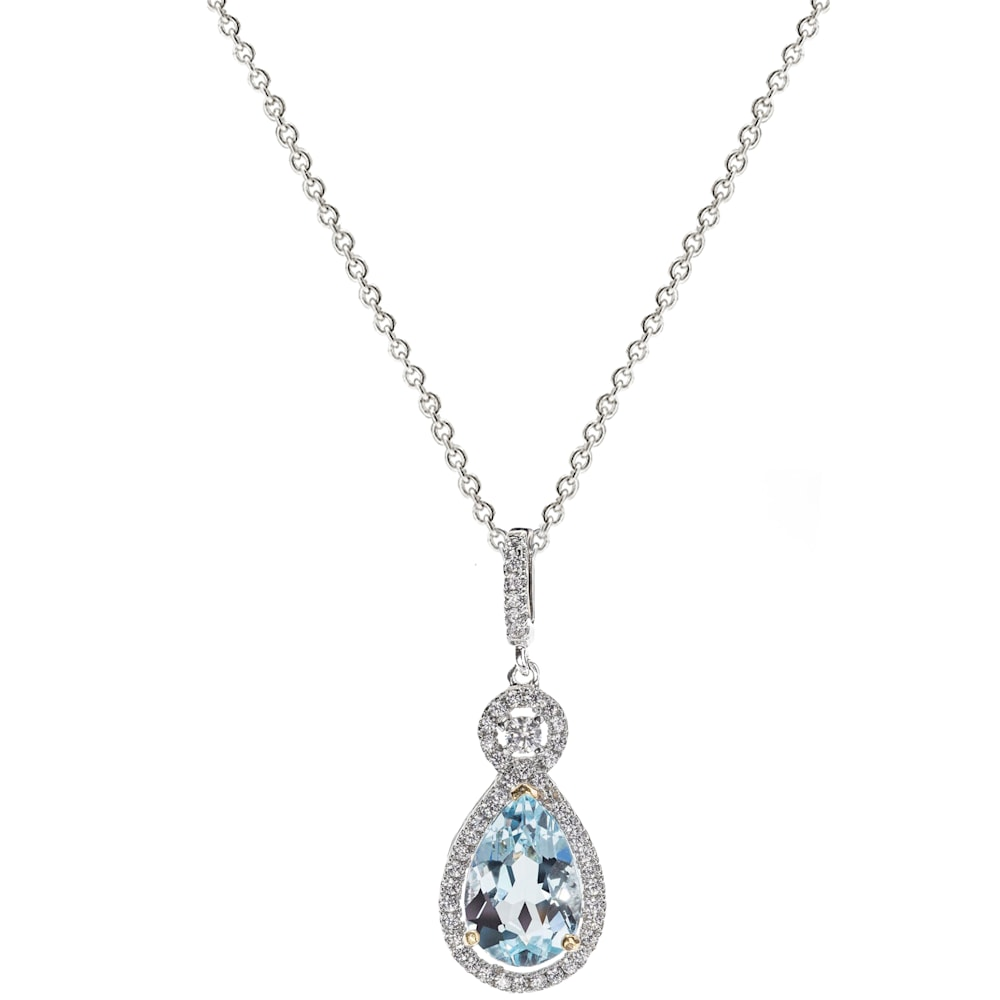 Silver Blue Topaz Necklace with 18 KGP Prongs Z30204 A 210000000430