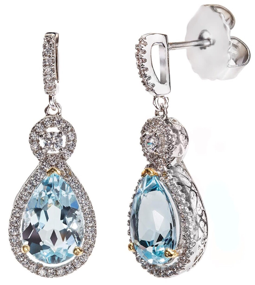 Silver Blue Topaz Victorian Teardrops with 18 KGP Prongs Z30088 a 210000000291