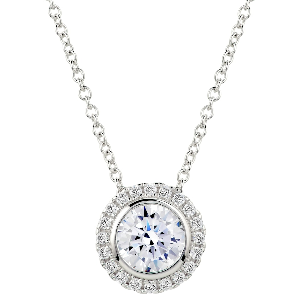 Sterling Silver 2 Carat Round Pendant Necklace with Halo  Z30219 a 210000000472
