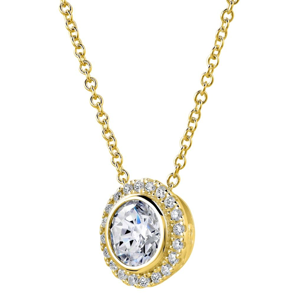 18 KGP 2 Carat Round Pendant Necklace with Halo  Z30221 b 210000000473