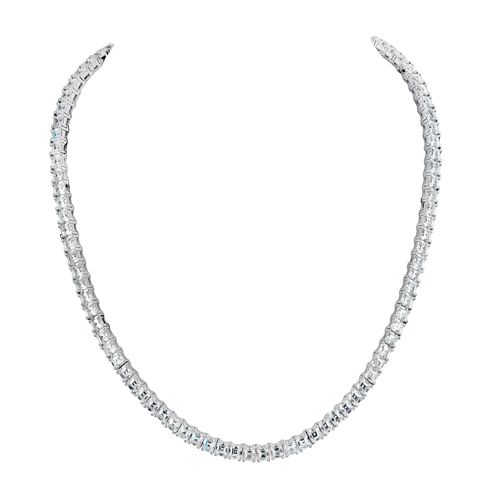 Silver Asscher tennis necklaceZ30225 a